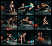 The collage from images of beautiful slim brunette doing some gymnastics at the gym Royalty Free Stock Images