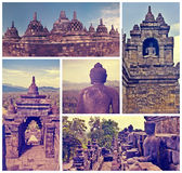 Collage of images Buddist temple Borobudur. Yogyakarta. Java, In Stock Photos