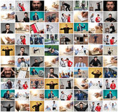 The collage from images of business man at office with different emotions Stock Photo