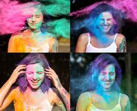 Collage of images with emotional woman with purple hair celebrating Holi festival. Collage of images with emotional young women with purple hair celebrating Holi stock photography