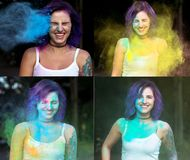 Collage of images with emotional woman with tattoo on hand celeb. Collage of images with emotional young women with tattoo on hand celebrating Holi festival royalty free stock image