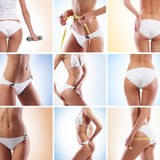 A collage of images with fit female body parts Royalty Free Stock Images