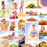 A collage of images with fresh fruits and relaxing women. A collage of many different images with fresh and tasty fruits and young women relaxing on spa stock photo