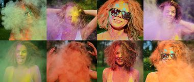 Collage of images with happy red head model posing with exploding colorful Holi powder around her. Collage of images with happy red head woman posing with stock photos