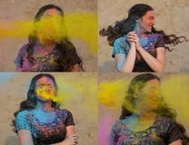 Collage of images with lovely brunette model posing with exploding yellow Holi powder around her. Collage of images with lovely brunette woman posing with stock images