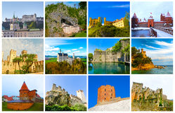The collage from images of most popular castles of Europe. The collage from images of most popular castles and fortresses of Europe Royalty Free Stock Image
