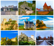 The collage from images of most popular castles of Europe. The collage from images of most popular castles and fortresses of Europe Stock Photos