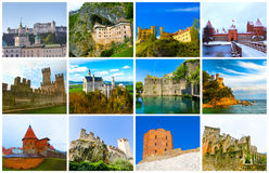 The collage from images of most popular castles of Europe. The collage from images of most popular castles and fortresses of Europe Royalty Free Stock Photography
