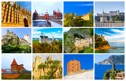 The collage from images of most popular castles of Europe. The collage from images of most popular castles and fortresses of Europe Royalty Free Stock Photos