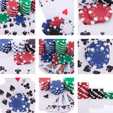 Collage of images poker theme. Chips, cards royalty free illustration