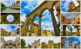 The collage of images at Split, Croatia Royalty Free Stock Photography