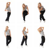 Collage of images stylish hip hop dancer Royalty Free Stock Image