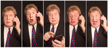 Collage of images of a successful senior man with different emotions royalty free stock photography