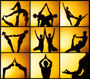The collage from images of two people practicing yoga in the sunset light Stock Photos