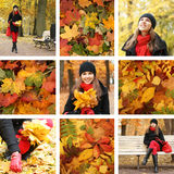 A collage of images with a woman in Autumn clothes Royalty Free Stock Image