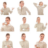 Collage of images woman office manager with phone Royalty Free Stock Image