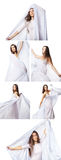 Collage of images woman in white dress and shawl or veil moving isolated Stock Photo