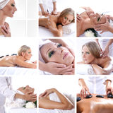 A collage of images with women on a spa procedure Royalty Free Stock Photos