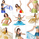 Collage of images with young Belly Dancer girl. Isolated on white Stock Image