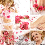 Collage of images with a young blonde Stock Images