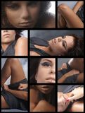 Collage of images with a young brunette Stock Image