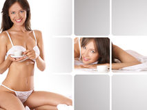 A collage of images with a young brunette Stock Photos