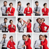 The collage from images of young businessman and businesswoman on gray background stock photos