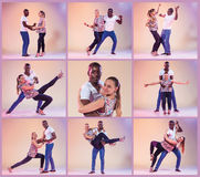 The collage from images of young couple dances social Caribbean Salsa Royalty Free Stock Images