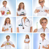 A collage of images with young female doctors. A collage of images with young and attractive female doctors in white clothes and holding medical tools. A total Royalty Free Stock Images