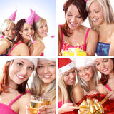 A collage of images with young and happy women. A collage of four images with young and happy women celebrating a birthday party. Perfect to use as a postcard stock photo