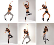 A collage of images with young jumping women Royalty Free Stock Photography
