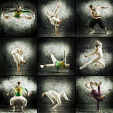 A collage of images with young men doing acrobatics Royalty Free Stock Image
