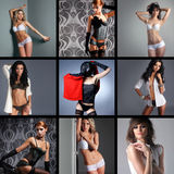 A collage of images with young and sexy women Royalty Free Stock Images