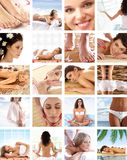 A collage of images with young women Stock Image
