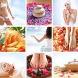 A collage of images with young women and flowers Royalty Free Stock Photo