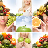 A collage of images with young women and fruits Royalty Free Stock Photo