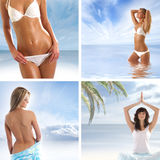 A collage of images with young women in the sea Royalty Free Stock Images