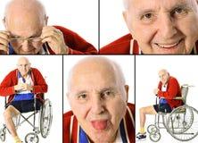 collage inaktiverad pensionär arkivbild