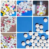 Collage includes tablets, pills, medications. Stock Photos