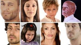 Collage incluyendo los retratos de la gente diversa almacen de metraje de vídeo