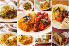Collage indio del alimento Imágenes de archivo libres de regalías