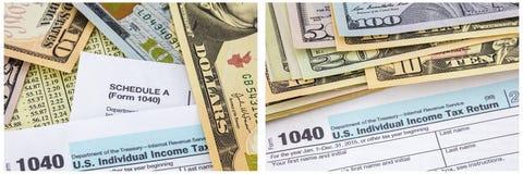 Collage 1040 individuel de monnaie fiduciaire de paiement d'impôts Image stock