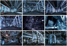 Collage industrial de los fondos hecho de 9 cuadros imágenes de archivo libres de regalías