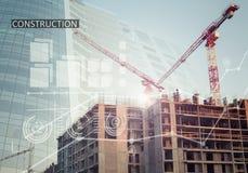 Collage industriel de construction avec des diagrammes Photos stock