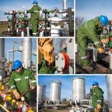 Collage industriel montrant des travailleurs au travail Images libres de droits