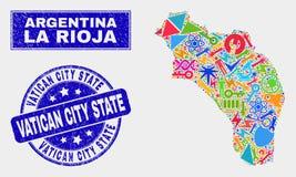 Collage industriella La Rioja av den Argentina översikten och den skrapade Vatican City State stämpeln vektor illustrationer