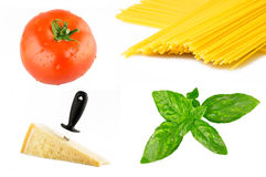 Collage of ingredients for italian pasta Stock Photography
