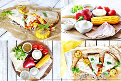 Collage. Ingredients for  Mexican Quesadilla wrap Stock Image