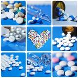 Collage inkluderar minnestavlor, preventivpillerar, läkarbehandlingar Royaltyfria Foton