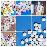 Collage inkluderar minnestavlor, preventivpillerar, läkarbehandlingar Arkivfoton
